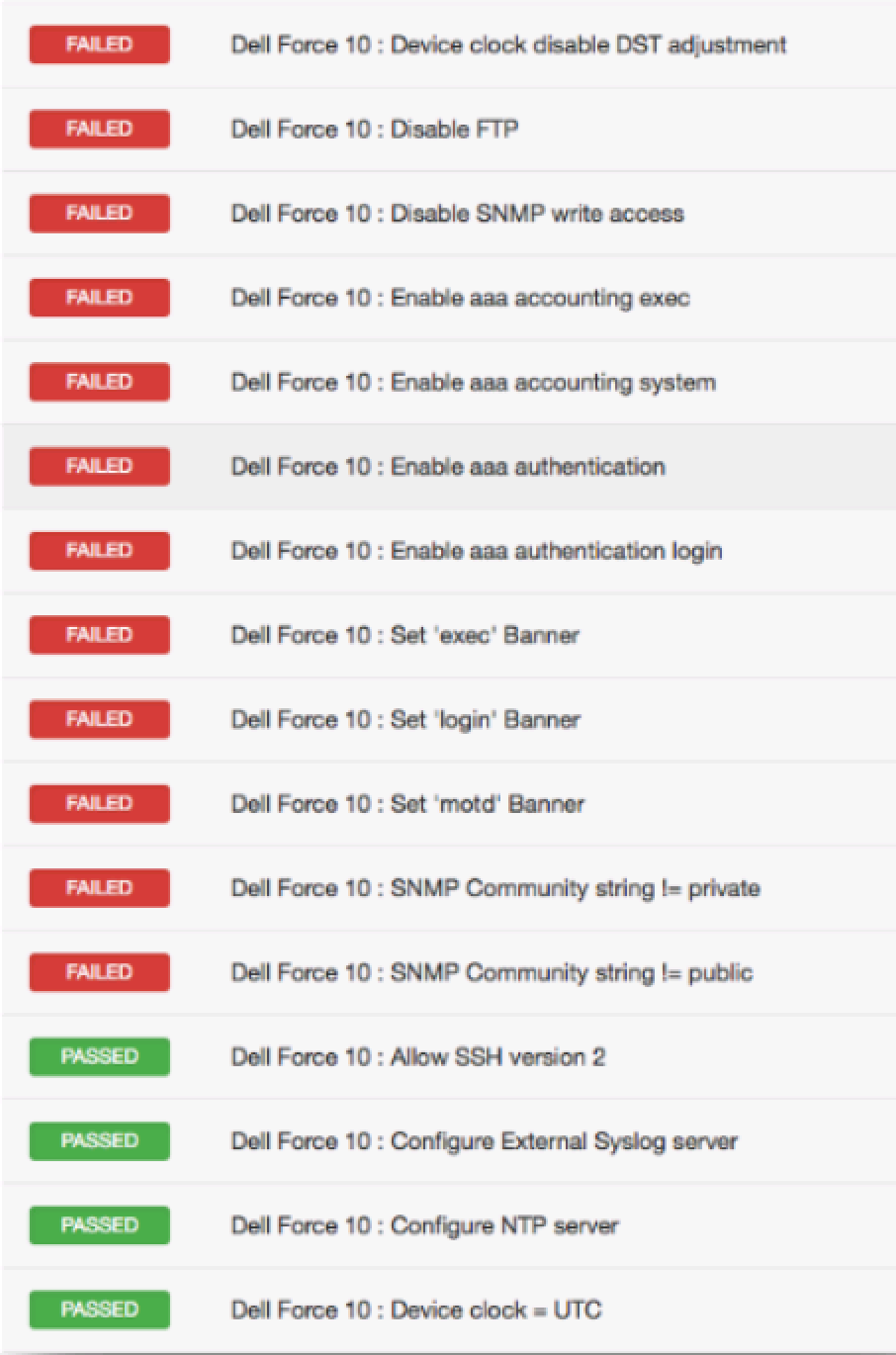 Dell Force10 Compliance File Reference (Nessus Compliance Checks)