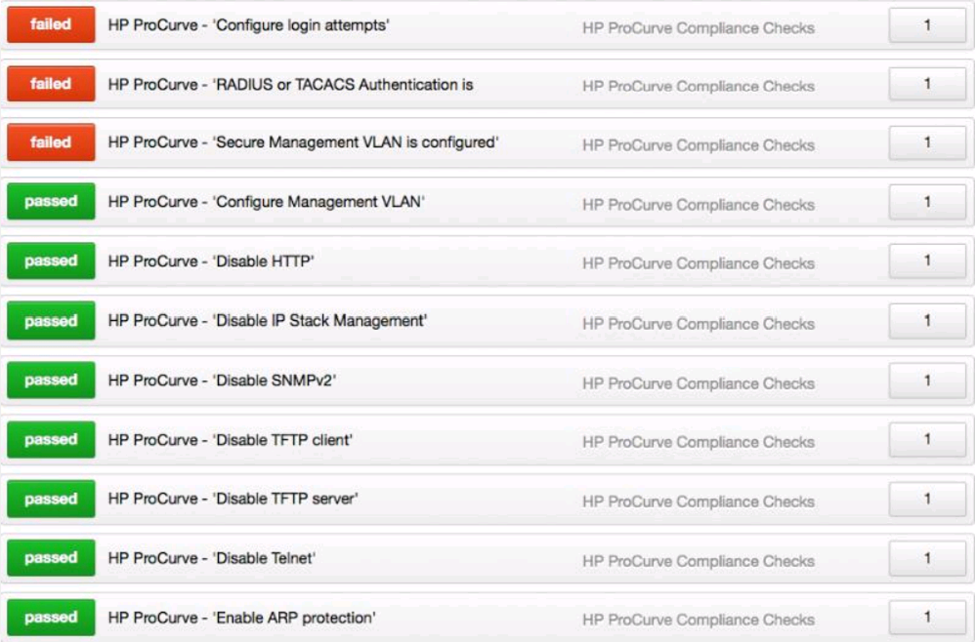 HP ProCurve Audit Compliance File Reference (Nessus
